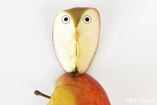 有一天我切开一个苹果,然后,一只猫头鹰就这么诞生了,好神奇。