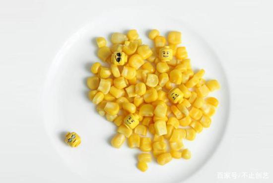 一碟玉米粒,我偷偷混进了几个玩具小零件,它们看起来好像表情包啊。