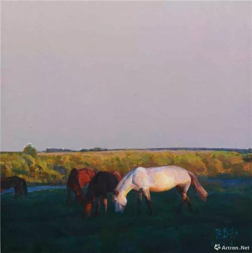 《黄昏夕阳下的大草原》60×60cm