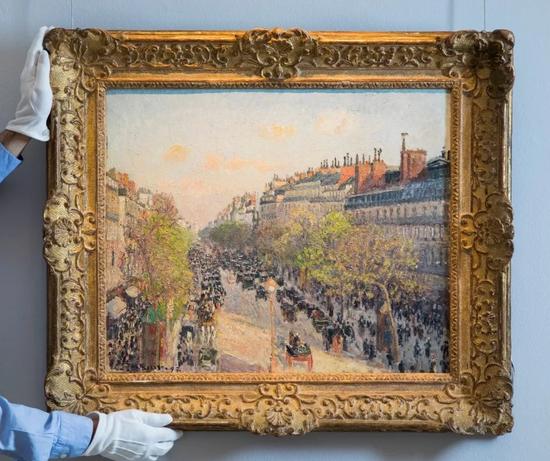 米耶?毕沙罗《蒙马特大道,黄昏》 1897年作,油彩画布