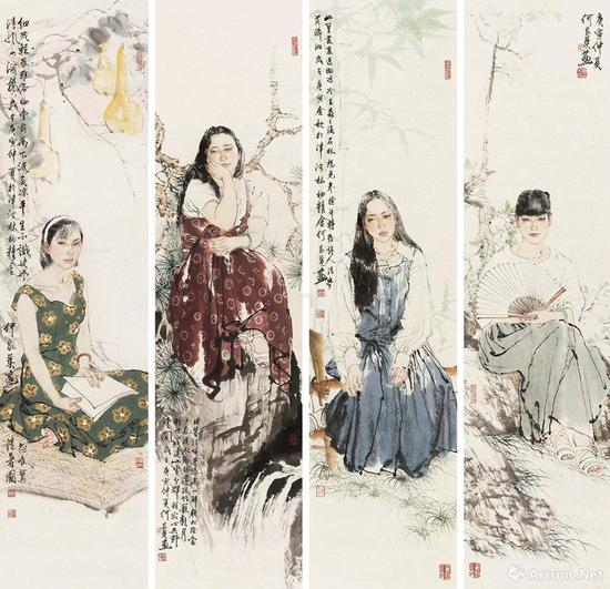 6 何家英 2010年作 人物四屏 镜心 RMB 2,800,000-3,800,000
