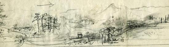 《韶山全景》草图 铅笔 8.1×28cm 1959年6月