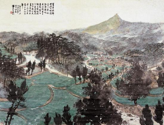 《毛泽东<到韶山>诗意图》 轴 纸本设色 88.1×116.3cm 1960年5月