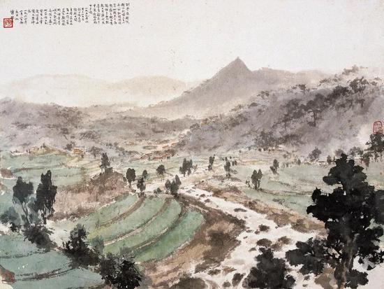 《毛泽东诗意图》 页 纸本设色 34.3×45.8cm 1964年2月