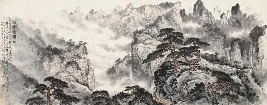 关山月《浮云捲碧山》成交价:RMB 1736.5万元