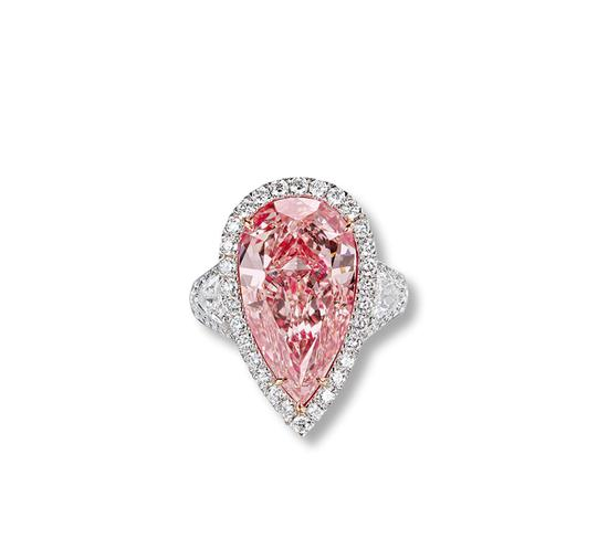 "Lot 3414 ""倾城""8.95克拉淡彩棕粉钻(Fancy Light Brownish Pink)戒指 成交价575万"