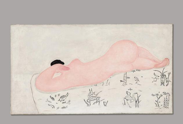 常玉《中国花布上的粉红裸女》 1930年代作 油画画布 45.2 x 81.2公分 估价:3500万至4500万港元