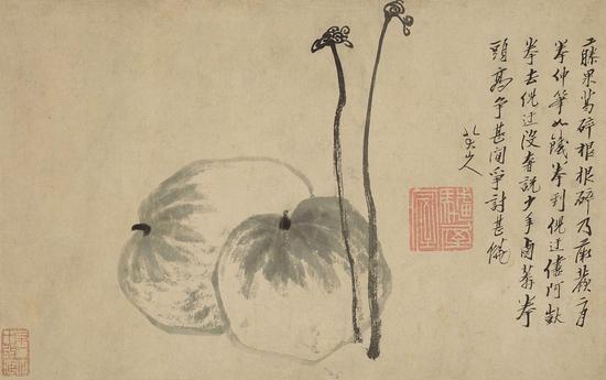 八大山人《藤果》  水墨纸本 立轴 25 x 39.7公分 估价:800万 – 1,000万港元
