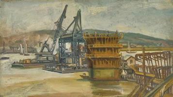 天堑通途:倪贻德《建设中的长江大桥》