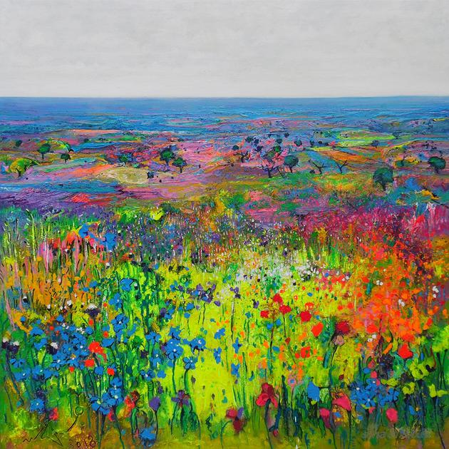 《拉曼恰田野的春之交响乐》(120×120cm)