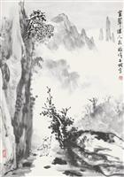 张伟石城国画《空翠湿人衣》作品欣赏