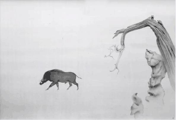 《立冬》 绢本水墨 123x188cm   上面这副作品是江南四大名石之一的绉云峰,绉云峰气势直起,但姿态曲折,层层而起,一脉至顶,一向深受画家喜爱。师建民觉得这块奇石就像一个好的剧本,不同的艺术家如同不同的导演在解读它,而师建民看重得是它背后的故事。   据说在明朝,一个杭州巡抚看见一个叫花子,叫花子年纪轻轻,气度不凡,巡抚爱惜人才,便把他收养到府里,后来觉得他为人能干,便让他从军。20年后叫花子屡立战功,成了广东巡抚,为了感谢恩人,他在广州挑了一块最好的石头,用几架马车花了好几个月运到杭州,送给已经