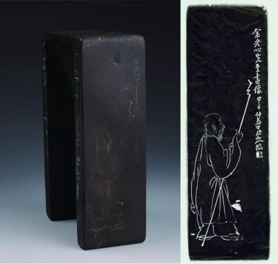 """铭文:金冬心先生画像。甲子仲秋,白龙山人。钤""""王震""""印。"""