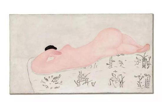 常玉《中国花布上的粉红裸女》