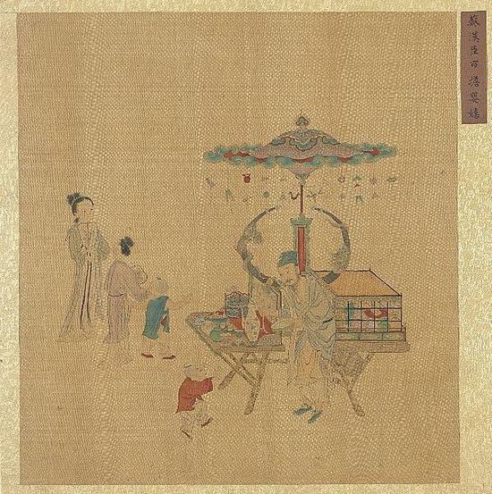 集古名绘 冊传 南宋 苏汉臣 《市担婴戏》台北故宫博物院藏