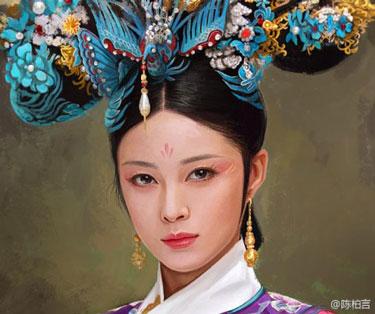 甄嬛传人物油画欣赏_张雄艺术网