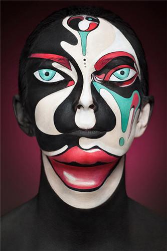 俄化妆师pop与后现代风格的面部彩绘艺术作品