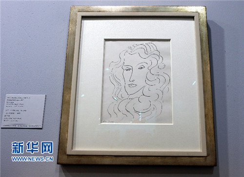 纽约汉马画廊:法国画家亨利·马蒂斯1942年素描作品《女人的画像》图片