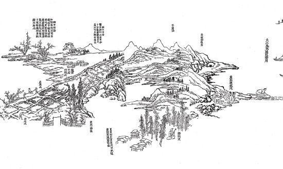 徐冰,芥子园山水卷(局部),油墨纸本