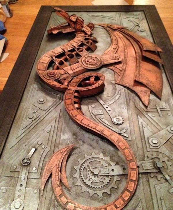 纸板蒸汽朋克雕塑