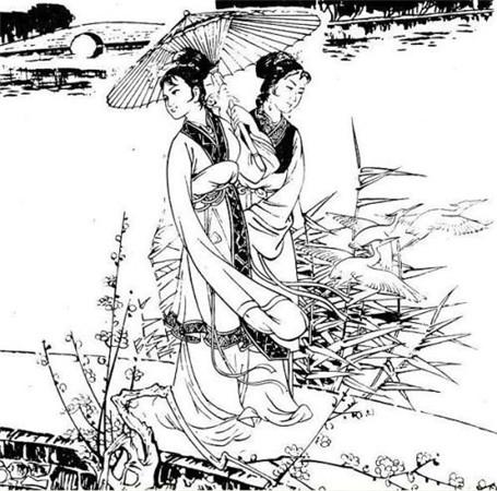 白描画:     仕女,古代宫女