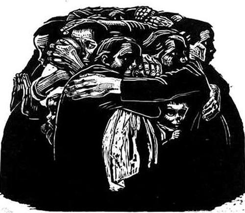 珂勒惠支木刻版画《母亲们》