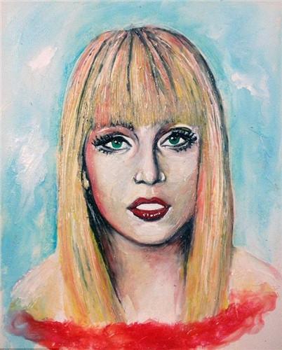 美国著名女歌手lady gaga肖像画