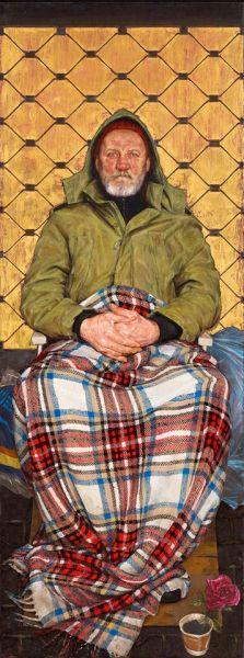 《盖着方格花呢毯的男人》