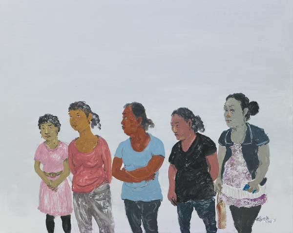 金花系列---01《五朵金花》 梅十方 80cmx100cm 2014年