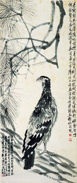《松鹰》 齐白石 137×35cm 1930年