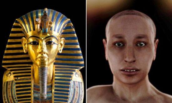 """电脑成像技术展现了图坦卡蒙金色面具下的""""真实面容"""""""