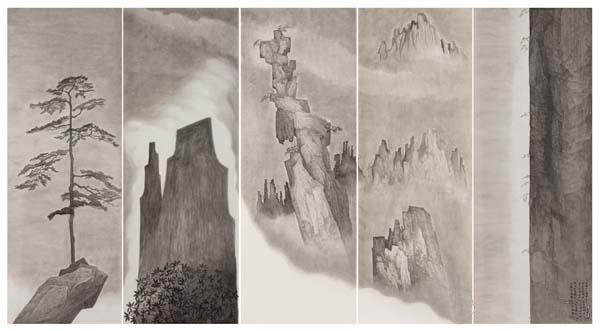 《山岳形》 冯海涛 60cm x 166cm x 5 2014