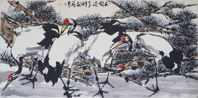 朱法鹏《松风鹤韵》被中国驻旧金山总领事馆收藏
