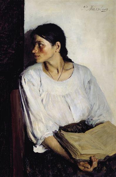 马利亚温的早期作品《读书》。