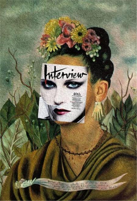 现代杂志人物封面与古典绘画结合