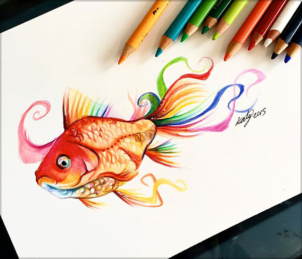 Katy Lipscomb精致的彩色铅笔绘画作品设计