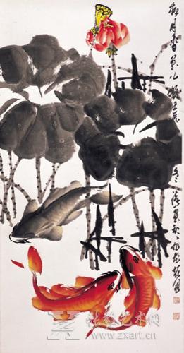 朱法鹏国画作品《秋月鱼儿畅》