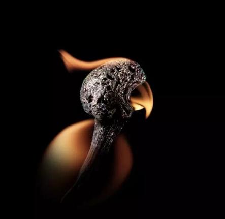 可爱的波利是谁?正是这只小鹦鹉!在这张近照里,我们能清晰看到燃烧火柴杆的纹理,它构成这只火鹦鹉的脑袋和脖子。顺便说一下,中国人在一千多年前发明木质火柴。早期的火柴杆是用松木制成的,而且充满了硫磺。它们被赋予富有诗意的名字带来光明的奴隶(light-bringing slaves)。