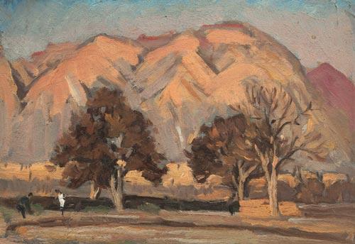 吕斯百 兰州梨树 1952年 木板油画 20×29.4cm