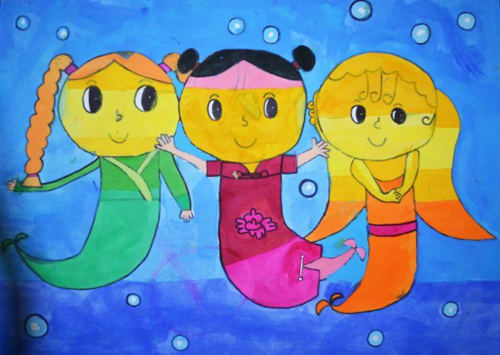 儿童画画美人鱼世界图片