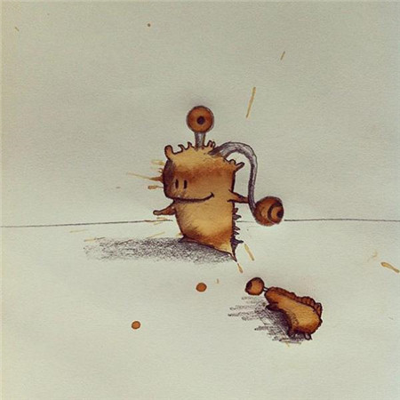 """人见人爱的""""咖啡渍小怪物""""手绘漫画"""