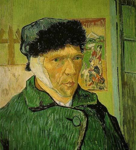 《割耳后的自画像》,文森特·梵高(1889年)图片