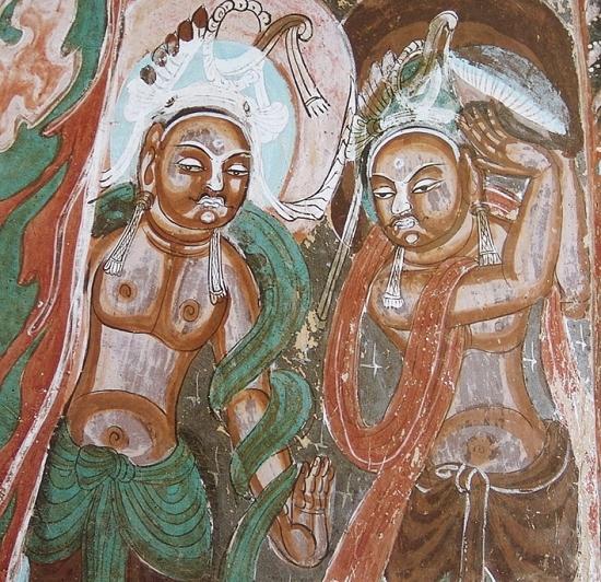 莫高窟第428窟中心柱南壁龛内变色壁画
