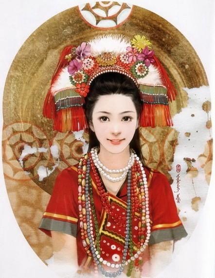中国56个民族手绘插画美女