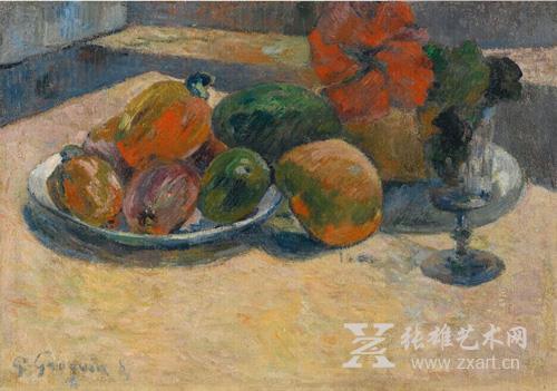 保罗·高更 《靜物:芒果与扶桑花》
