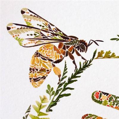 植物树叶制成动物彩色插图