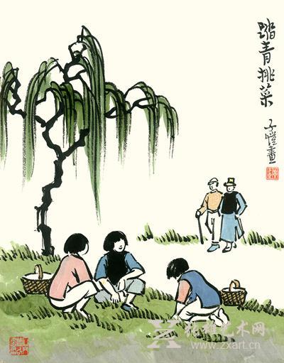 清明节踏青扫墓手绘图片