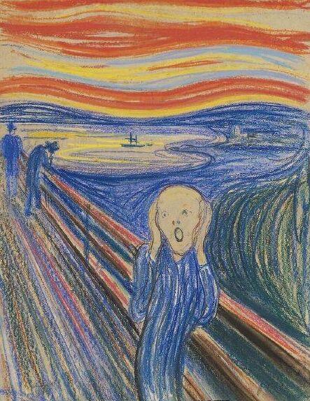暗潮汹涌的河流旁,显得更加狂乱与苦闷,这是挪威艺术家蒙克(edvard