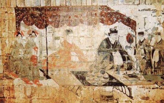 朱村东汉墓壁画夫妇宴饮图