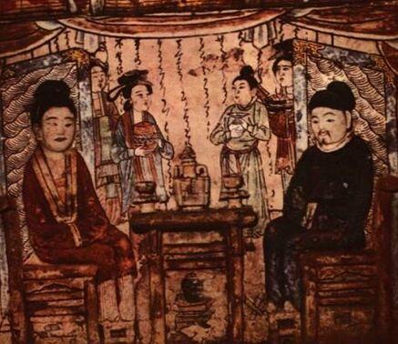 河南禹县白沙镇1号宋墓前室西璧的墓主夫妇对坐宴饮图